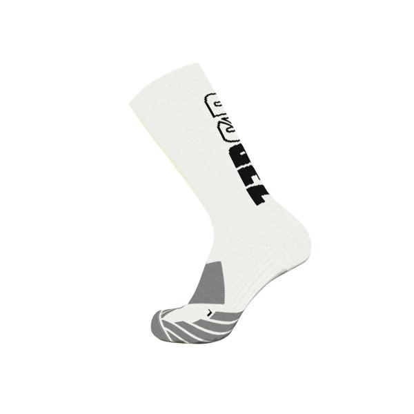 Z3R0D - Chaussettes hautes blanches avec logo noir pour la course à pied et le vélo.