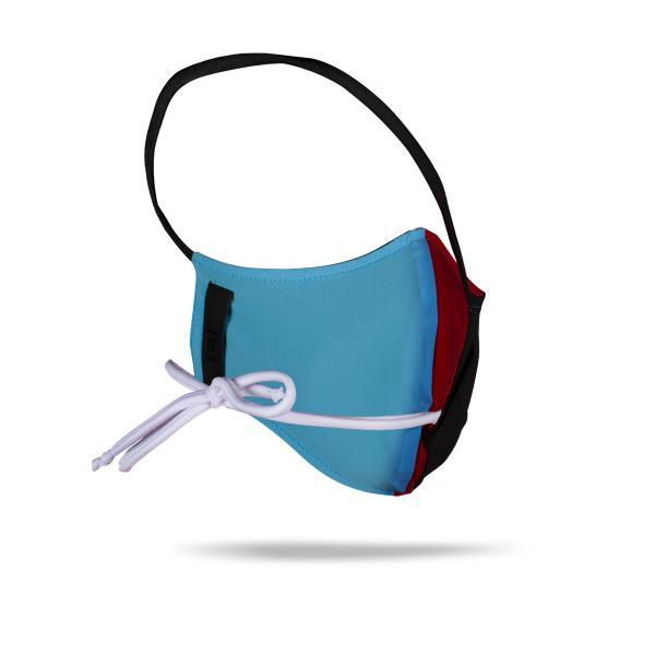Masque en tissu réversible noir/bleu/rouge Z3R0D